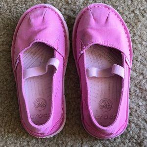 CROCS Toddler Girls pink canvas slip on shoes 9